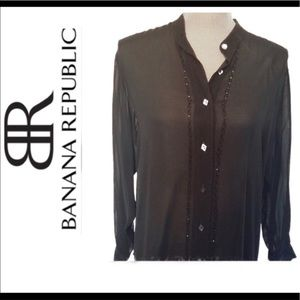 Banana Republic silk Top shimmer accents